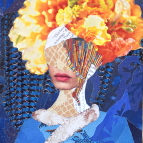 Crazy hairdo, colorful collage, red lips, only mouth on face, yelow hair, flowers hair, blue clothes.