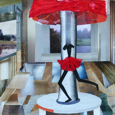 """""""Red Lamp"""" by Roxana Rojas-Luzon collage"""