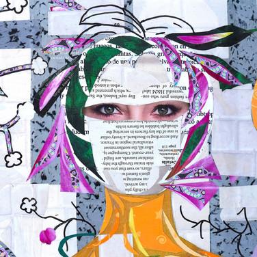 white paper print face, purple hair, green eyes