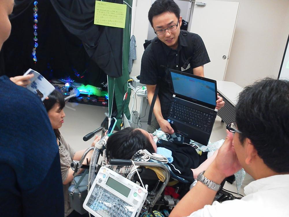 ロボットアームの体験もありました。 スイッチによるPC操作を体験。