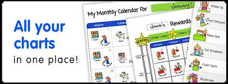 Rewards charts, routine charts and kids calendar
