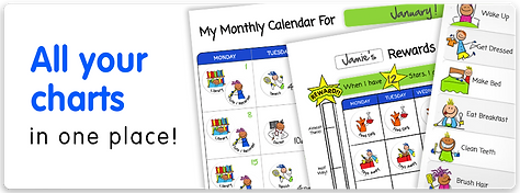 Rewards charts, routine charts and kids calendar