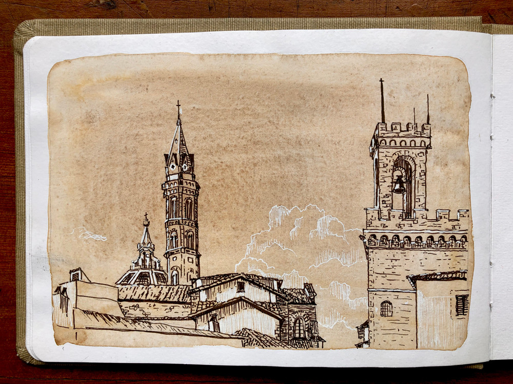 Florence, Italy travel sketching - ink drawing on watercolor wash by Rachel Pearsey