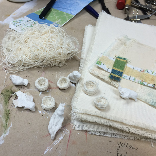 Sparrows and Nests in their first stage, before being painted with layers of encaustic.
