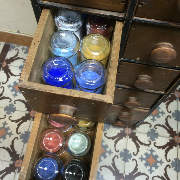 And they fit perfectly in my antique chest of small drawers that holds my art supplies in my studio at Green Olive Arts in Tetouan.