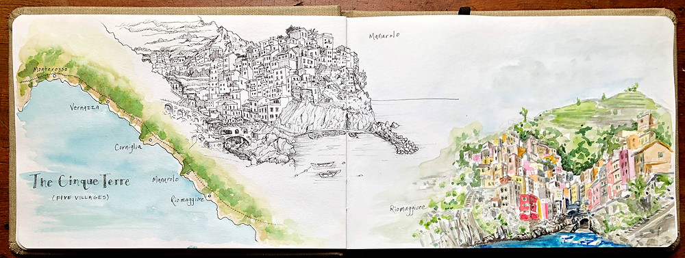 Cinque Terre, Italy - line and wash drawings, travel sketching by Rachel Pearsey