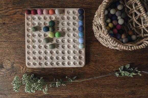 Hundred Frame with Coloured Felt Balls