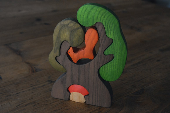 Tree with Squirrel and Toadstool