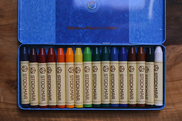 Stockmar 16 Wax Crayons in Tin Case