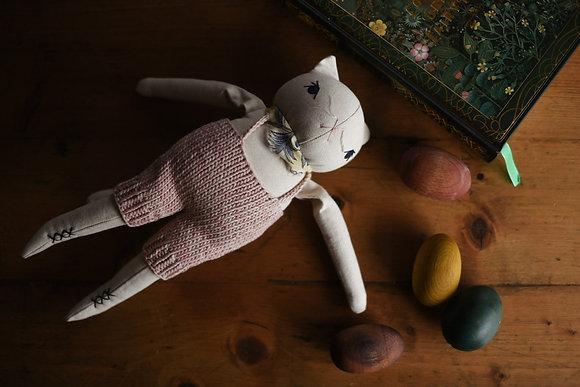 Medium White Cat in Handknits - The Polka Dot Club