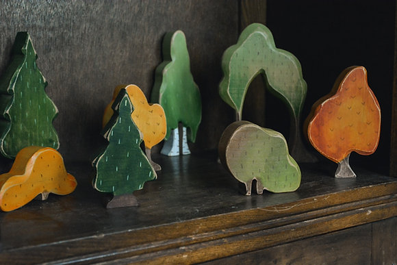Set of Hand Painted Trees and Bushes