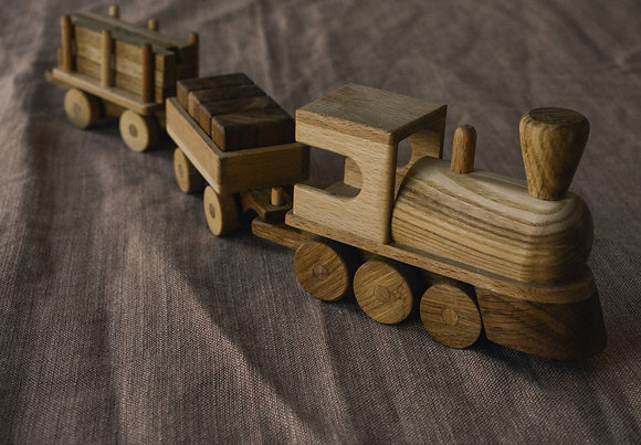 Steam Train with Logs and Blocks.