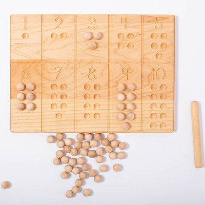 Reversible 1-10 board with Pen and Wooden Balls