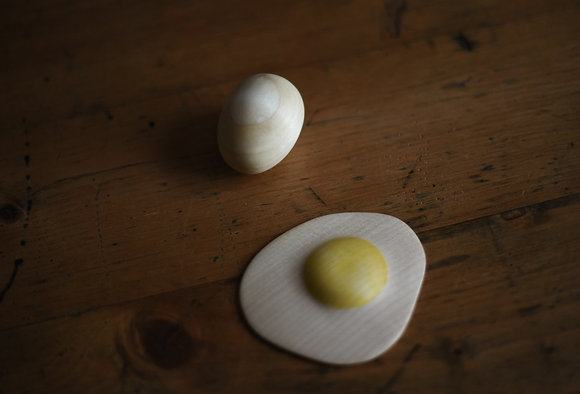 Set of Wooden Eggs - Fried and whole