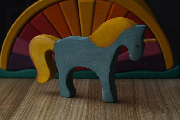 Blue Unicorn with Golden Mane