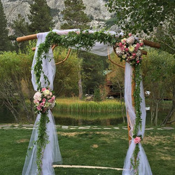 #weddingarch #doubleeagle #wedding #pink #summerwedding #junelake #mountainbride #fairytale