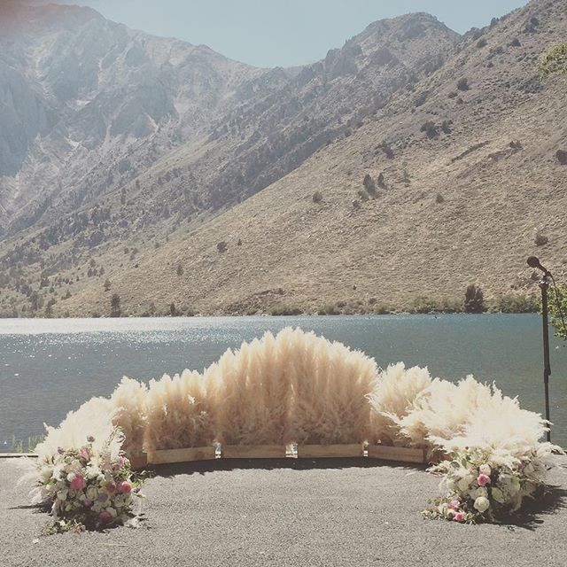 Loving this #weddings #convictlake #mammothlakes #mammothwedding #mountainbride #summer #pampasgrass