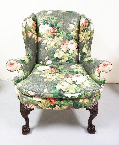 KINDEL *WINTERTHUR* REPRODUCTION WING CHAIR WITH ROSE PATTERNED UPHOLSTERY AND B
