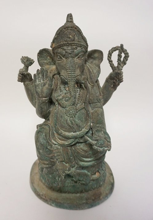 ASIAN BRONZE GANESH FIGURE MEASURING 10 3/4 INCHES HIGH.