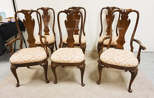 SET OF 6 DREXEL DINING CHAIRS WITH SHELL CARVINGS ON THE LEGS.