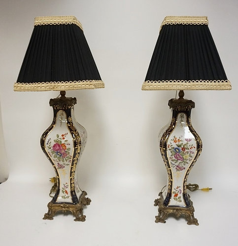 PAIR OF HAND PAINTED FLORAL TABLE LAMPS WITH COBALT BLUE AND GOLD TRIM. 29 1/2 I