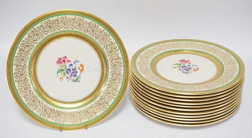 SET OF 12 EDGERTON PORCELAIN SERVICE PLATES DECORATED WITH FLOWERS. 10 3/4 INCH
