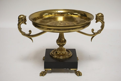 BRONZE TAZZA WITH A SLATE BASE (SLATE HAS A REPAIR). THE METALWORK INCLUDES A ME