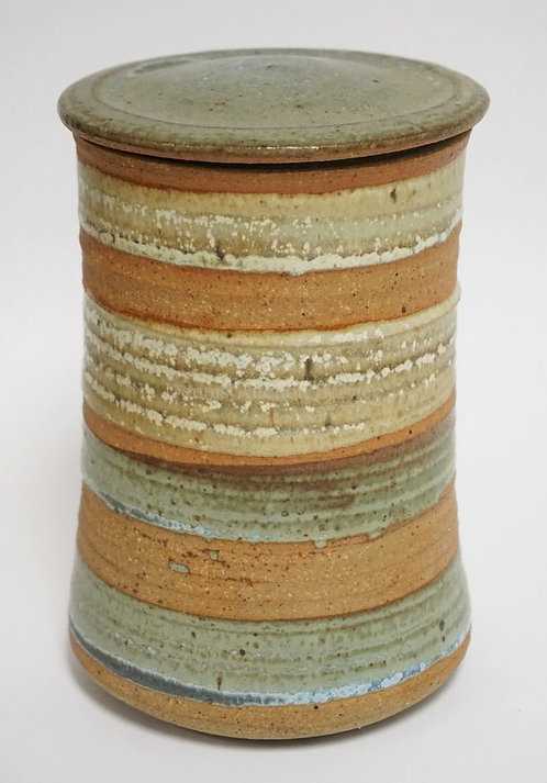 MODERN ART POTTERY JAR WITH LID. SIGNED WITH A BACKWARDS *K* AND A REGULAR *K*.
