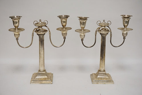 PAIR OF ENGLISH SILVER PLATED CANDELABRA WITH URN FINIALS. 14 INCHES HIGH.