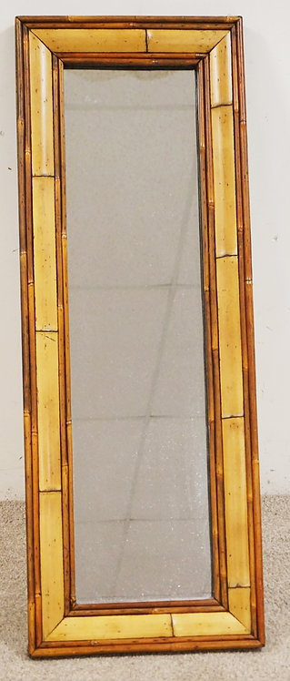 BAMBOO FRAMED MIRROR MEASURING 43 1/2 X 16 INCHES.