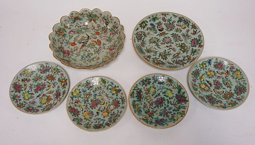 6 PIECE LOT OF ASIAN PORCELAIN  WITH POLYCHROME ENAMEL DECORATIONS OF FLOWERS AN