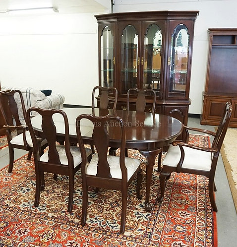 ETHAN ALLEN 8 PIECE CHERRY DINING ROOM SET, 2 PIECE CHINA CABINET WITH A MIRRORE