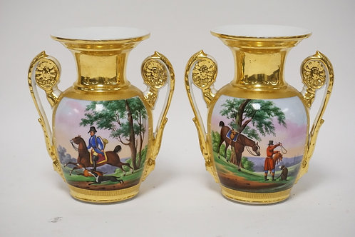 PAIR OF HAND PAINTED PORCELAIN VASES (FACTORY DRILLED AS LAMPS). HUNT SCENES. 7