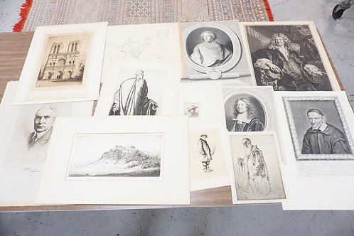 GROUPING OF 12 UNSORTED PRINTS, ETCHINGS. SOME PENIL SIGNED.