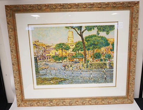 EUGENE KASPIN LIMITED EDITION PRINT OF A COLORFUL EUROPEAN CITY STREET SCENE. 49