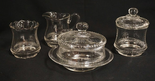 EAPG FOSTORIA #677, COLORADO 4 PC TABLE SET: CREAMER, COVERED SUGAR, COVERED BUT