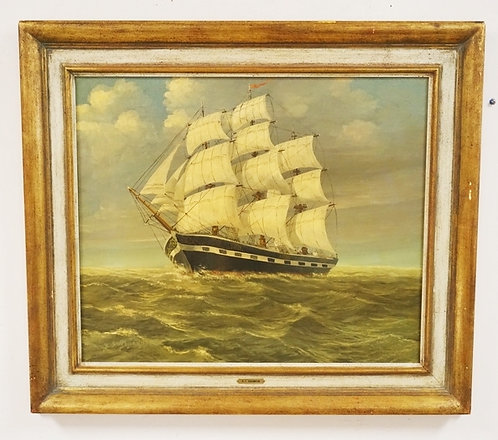 B.S. JOHANNSON OIL PAINTING ON CANVAS OVER BOARD OF A CLIPPER SHIP AT SEA. 23 1/