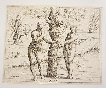 AUGUSTIN HIRSCHVOGEL (1503-1553) *THE FALL OF MAN* 6 IN X 4 3/4 IN