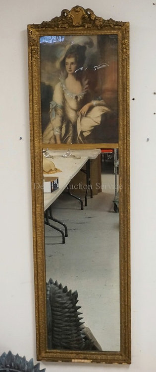 GOLD GILT MIRROR WITH LITHO OF A WOMAN IN THE TOP SECTION. SOME LOSSES TO FRAME.