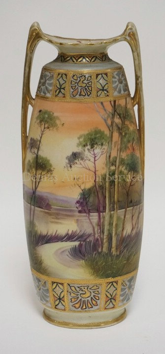 SCENIC HAND PAINTED NIPPON VASE. DOUBLE HANDLED. 12 1./2 INCHES HIGH. SOME WEAR