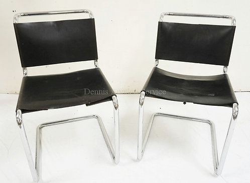 PAIR OF CHROME & LEATHER MCM CHAIRS.