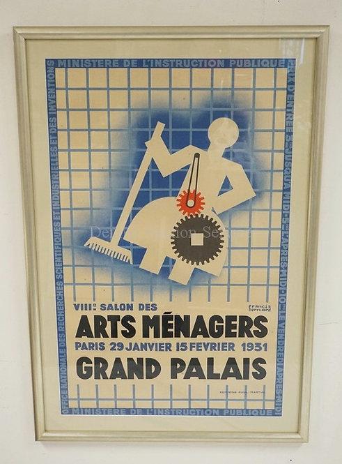 FRANCIS BERNARD FRENCH 1931 POSTER. 44 3/4 X30 1/2 INCH FRAME.