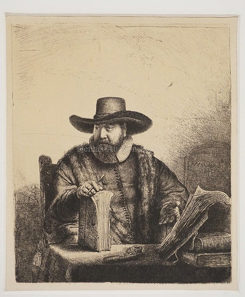 REMBRANDT ETCHING *MINISTER ANSLO*. 6 1/4 X 7 3/8 INCH IMAGE.