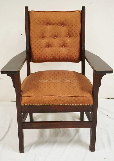 MAHOGANY ARTS & CRAFTS STYLE ARMCHAIR. PARTIAL PAPER LABEL READING BARD AND ELDR