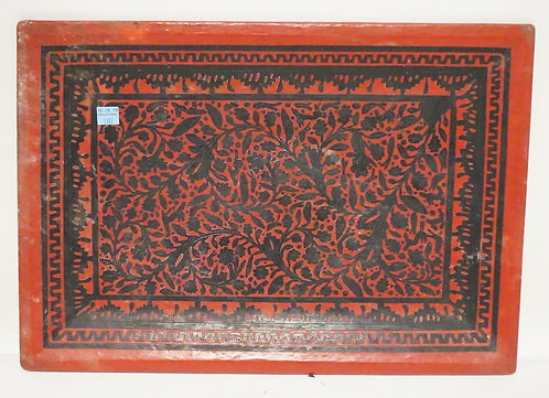 ASIAN RED AND BLACK LACQUERED TRAY MEASURING 18 1/2 X 13 INCHES.
