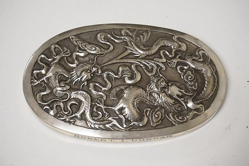 ASIAN SILVER PAPERWEIGHT HAVING RELIEF DECORATION OF FIRE BREATHING DRAGONS. ENG