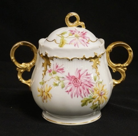 HAND PAINTED LIMOGES SUGAR BOWL DECORATED WITH CHRYSANTHEMUMS.