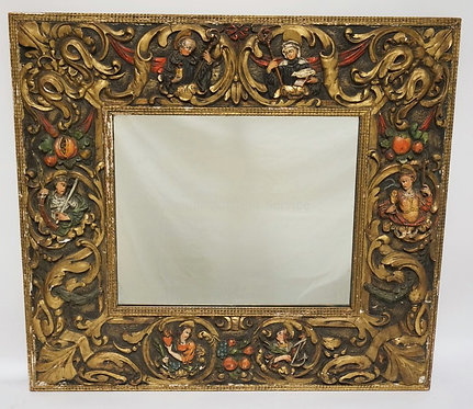 POLYCHROME DECORATED GESSO MIRROR WITH ECCLESIASTICAL FIGURES. 32 X29 INCHES.