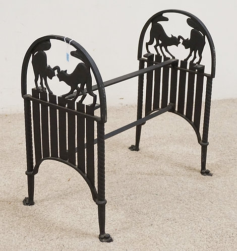 CAST IRON BENCH FRAME WITH CAT SILHOUETTE ENDS. 21 1/4 INCHES LONG. 21 INCHES HI