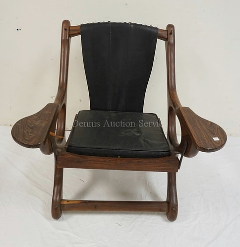 DON SHOEMAKER, SENAL MCM *SLING SWINGER* ROSEWOOD ARMCHAIR WITH A SWINGING SEAT.